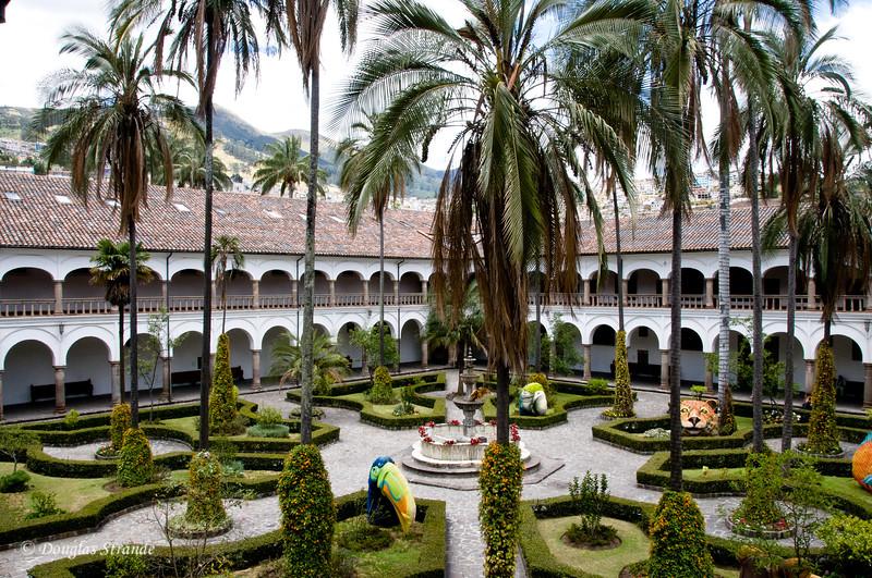Quito, Ecuador Church & Monastery of San Francisco Courtyard with whimsical statuary