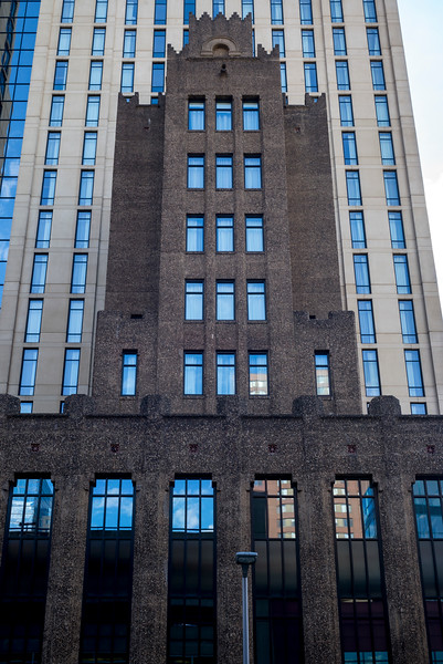 Facade of modern office building at Downtown Minneapolis, Hennepin County, Minnesota, USA