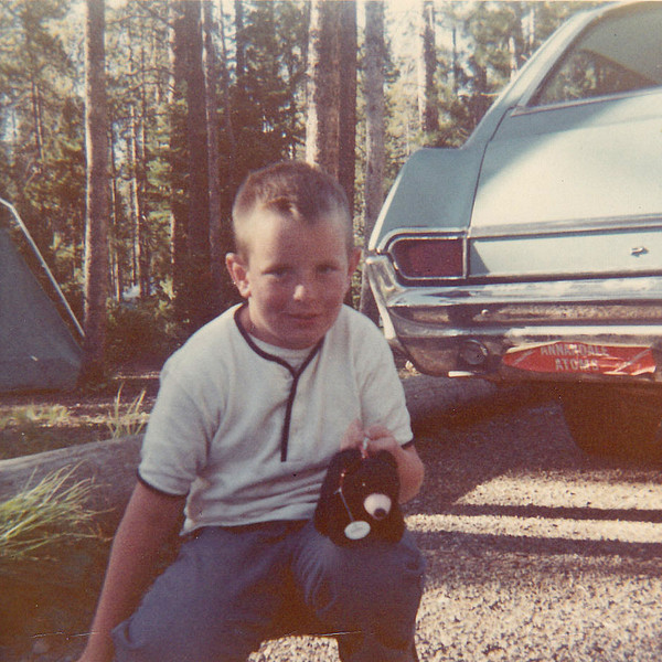 "John 1968, Grand Tetons National Park campground.  note Pontiac stationwagon with ""Annandale Atoms"" bumper sticker"