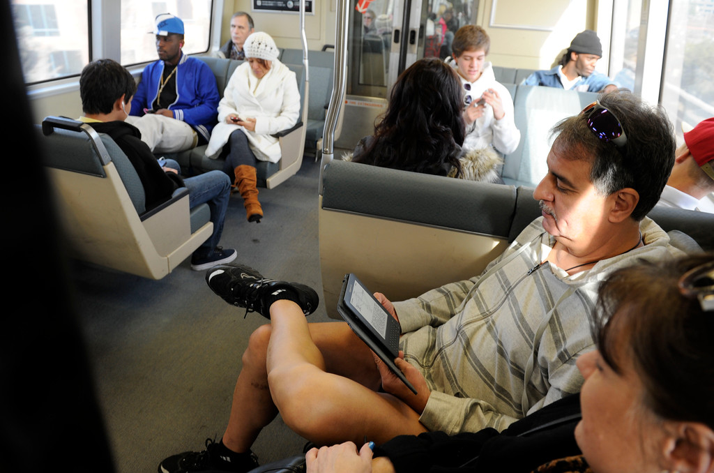 ". Recent lower temperatures did not stop this man from participating in the ""12th Annual No Pants Subway Ride\"" as a Pittsburg/Bay Point BART train travels west through Lafayette, Calif. on Sunday, Jan. 13, 2013. (Susan Tripp Pollard/Staff)"
