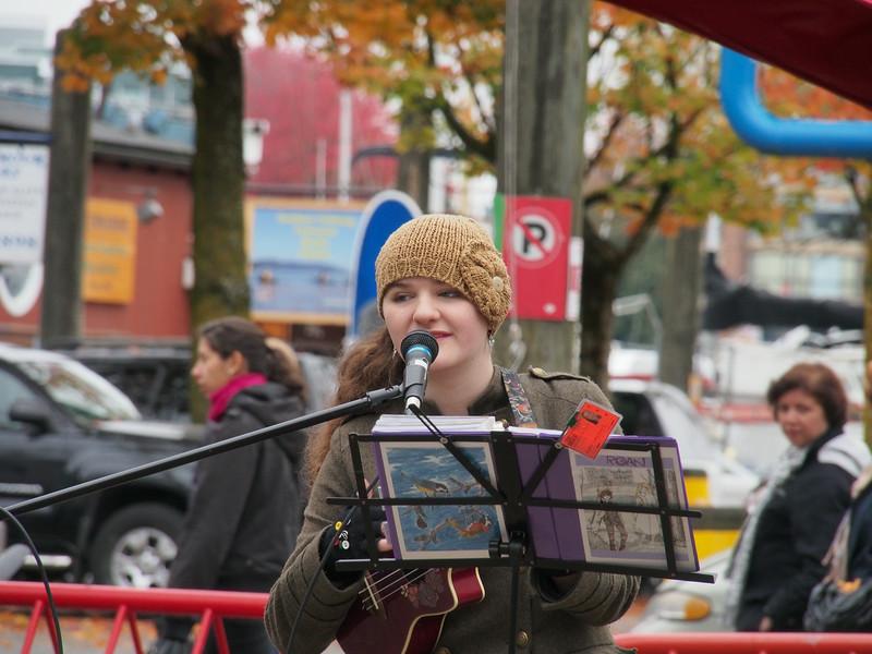 Oct. 19/13 - Busker outside Granville Island Public Market