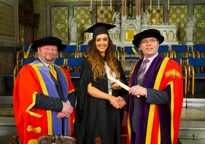 Waterford Institute Of Technology Conferring. Pictured at WIT Waterford Institute Of Technology Conferring is Sarah Duggan, Waterford  who graduated Bachelor of Business (Honours), also pictured are Dr. Derek O'Byrne. Registrar WIT,David and Dr. Ruaidhrí Neavyn, President WIT. Picture: Patrick Browne