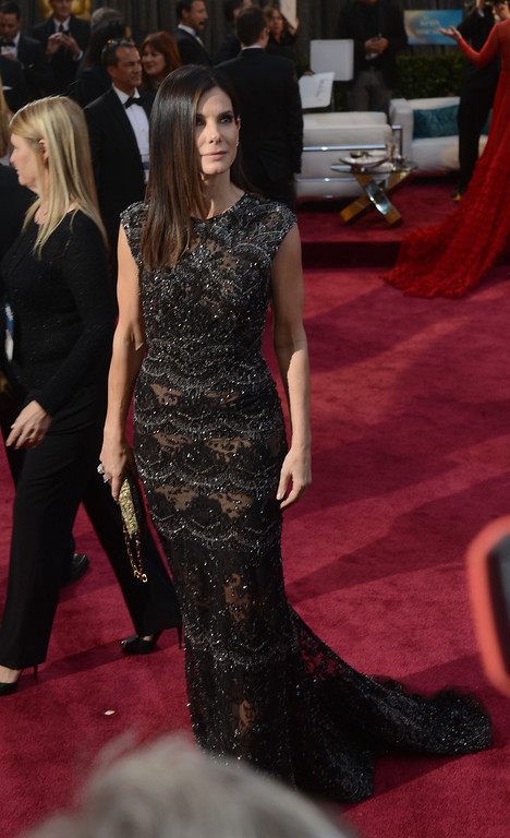 . Sandra Bullock arrives at the 85th Academy Awards at the Dolby Theatre in Los Angeles, California on Sunday Feb. 24, 2013 ( Hans Gutknecht, staff photographer)