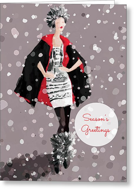 Red And Black Winter Glam Fashion Holiday Greeting Card by Artist Beverly Brown.