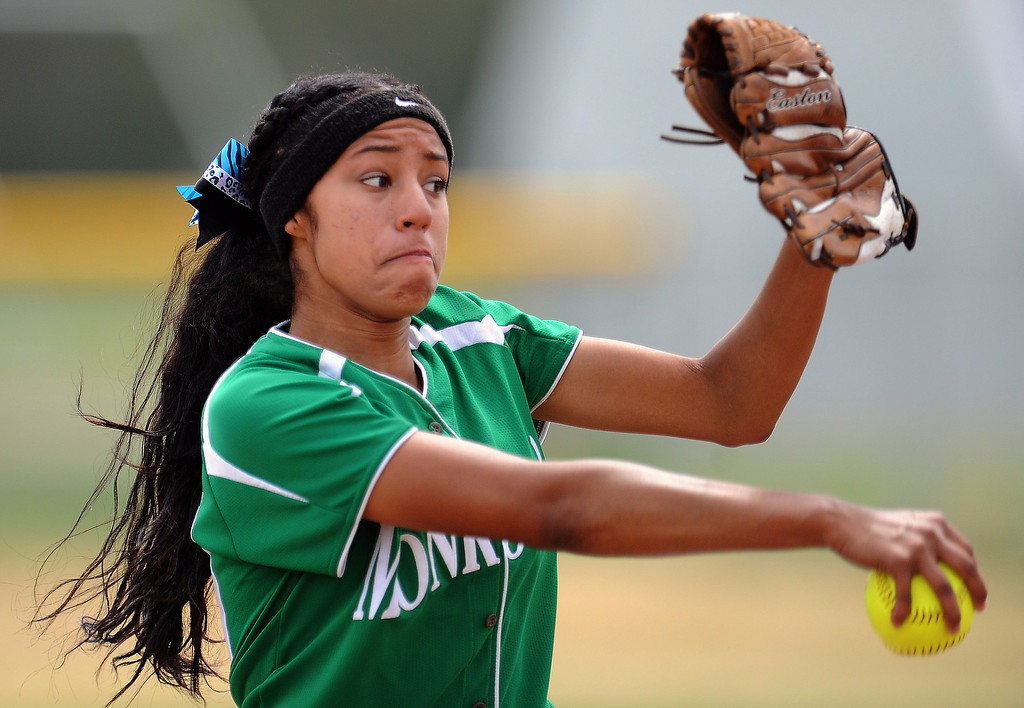 . Monrovia starting pitcher Guerra Adrienne threw a no-hitter striking out 15 in defeating Covina 6-0 to win the Northview Tournament championship softball game at Northview High School on Thursday, April 4, 2013 in Covina, Calif.  Monrovia won 6-0. 