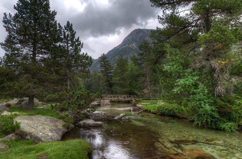 Wooden bridge across the stream in Vall de Boi, Spain