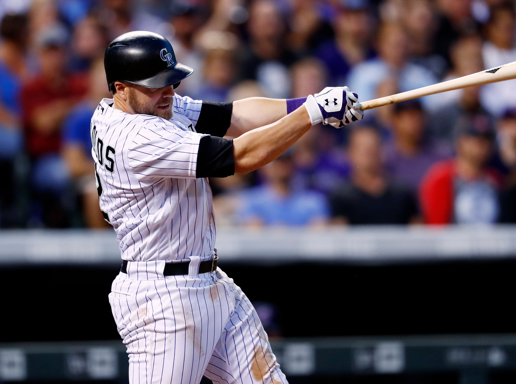 . Colorado Rockies\' Mark Reynolds follows the flight of his three-run home run off Cleveland Indians relief pitcher Zach McAllister in the fifth inning of an interleague baseball game Tuesday, June 6, 2017, in Denver. Colorado won 11-3. (AP Photo/David Zalubowski)