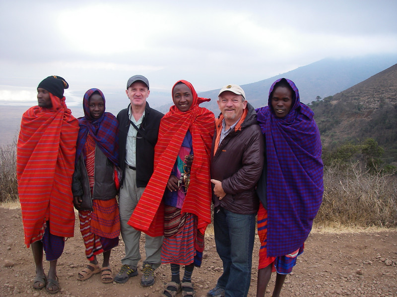Entrance to Ngorongoro crater conservation area -  together with Masai people