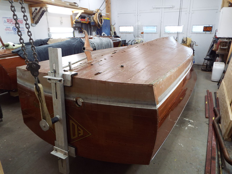 Rear view of the hull upside down.