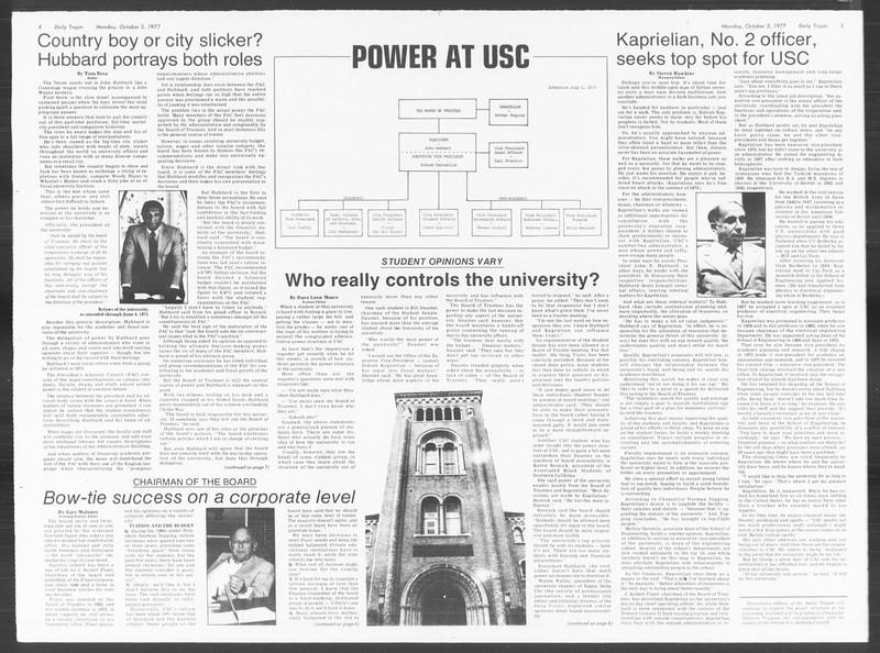Daily Trojan, Vol. 72, No. 11, October 03, 1977