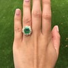5.34ctw Emerald and Old Mine Cut Diamond Cluster Ring 2