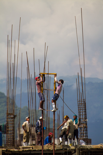 Construction workers working at construction site - Nepal