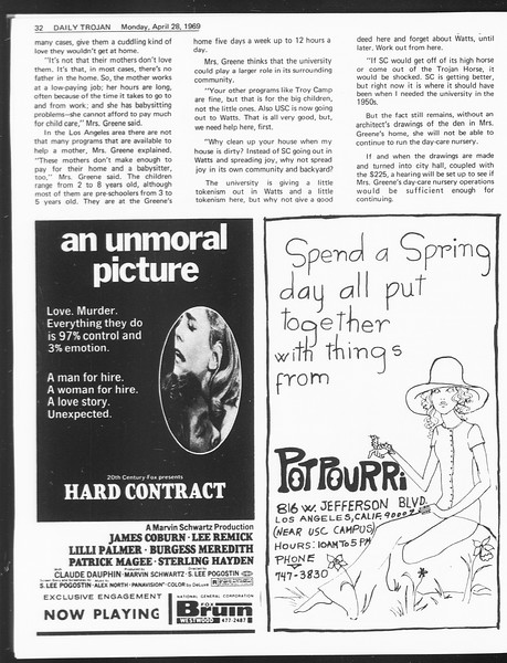 Daily Trojan, Vol. 60, No. 111, April 28, 1969