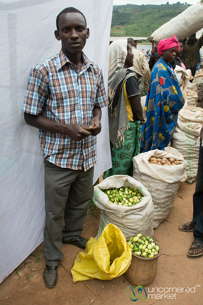 Selling Green Eggplant at the Market - Lake Bunyonyi, Uganda
