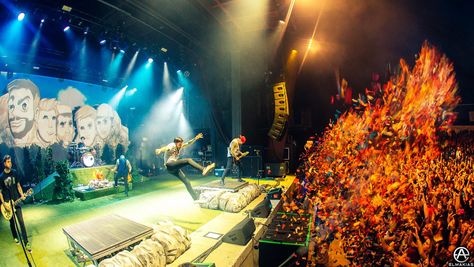 Flying kick and confetti shot