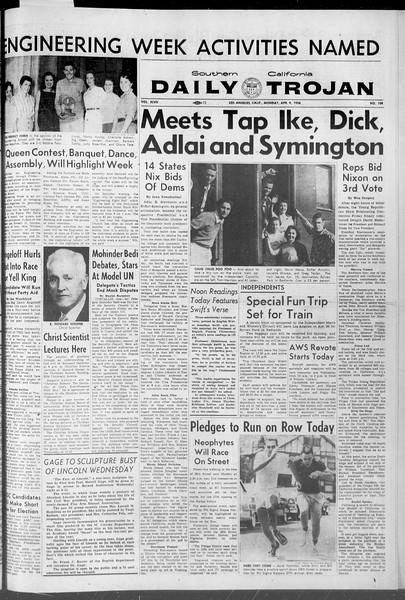 Daily Trojan, Vol. 47, No. 108, April 09, 1956