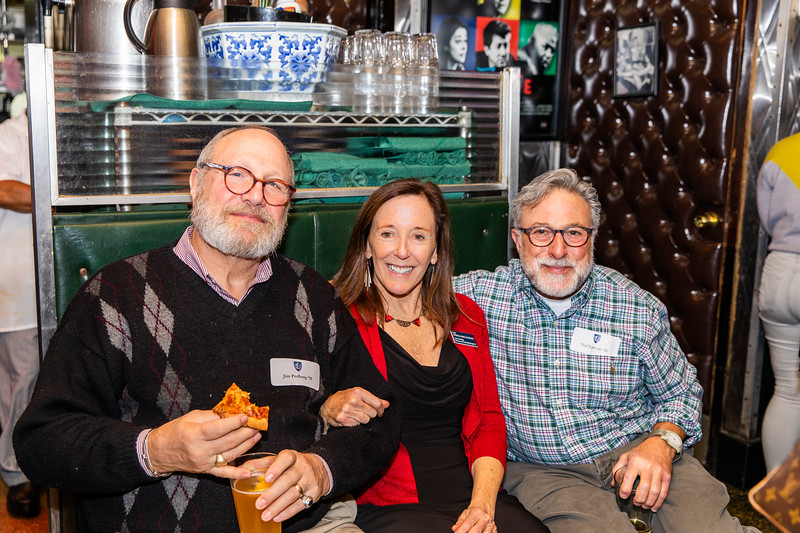 Planning for their 50th reunion: Jim Perlberg '70; Alumni Director Lynn Crevling '72 and Neil Epstein '70