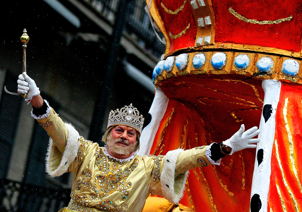 Description of . Rex, King of Carnival parades down St. Charles Avenue despite the rain Mardi Gras Day on March 4, 2014 in New Orleans, Louisiana. Fat Tuesday, the traditional celebration on the day before Ash Wednesday and the beginning of Lent, is marked in New Orleans with parades and marches through many neighborhoods in the city.(Photo by Sean Gardner/Getty Images)