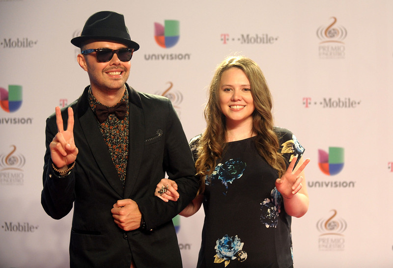". Jesse and Joy arrive at the 25th Anniversary Of Univision\'s ""Premio Lo Nuestro A La Musica Latina\"" on February 21, 2013 in Miami, Florida.  (Photo by Gustavo Caballero/Getty Images for Univision)"