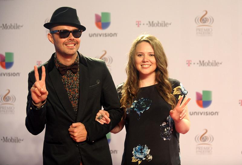 ". Jesse and Joy arrive at the 25th Anniversary Of Univision\'s \""Premio Lo Nuestro A La Musica Latina\"" on February 21, 2013 in Miami, Florida.  (Photo by Gustavo Caballero/Getty Images for Univision)"