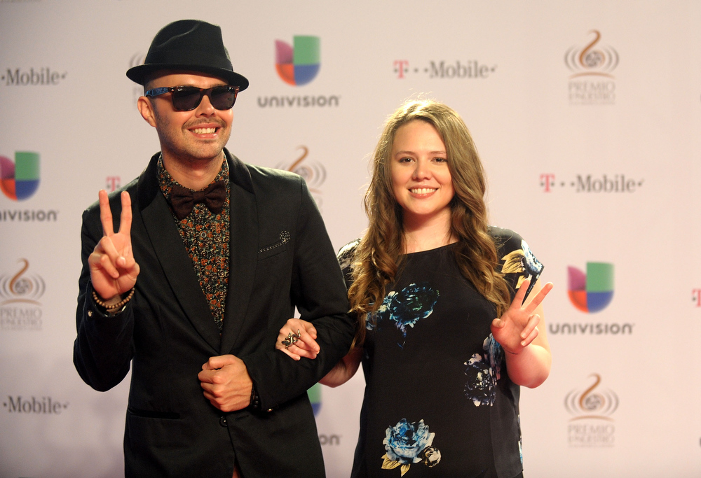 Description of . Jesse and Joy arrive at the 25th Anniversary Of Univision's