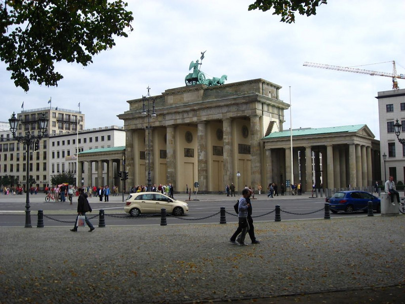 Brandenburg Gate, originally built in 1791. Was part of the Berlin wall separating East and West