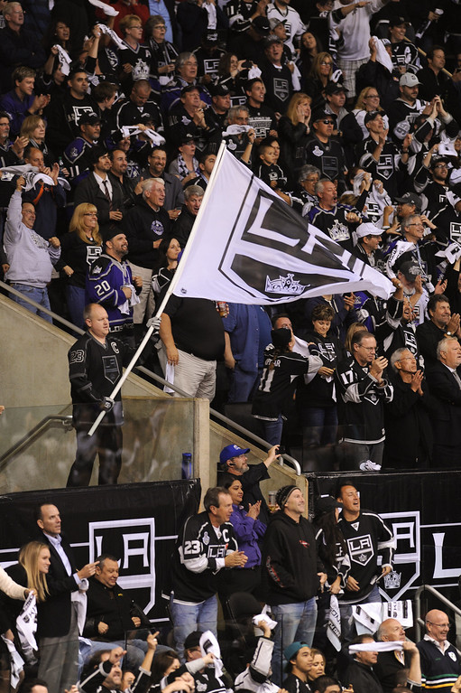 . Fans celebrate the Kings come-from-behind 4-3 win over the Sharks. (Michael Owen Baker/Staff Photographer)