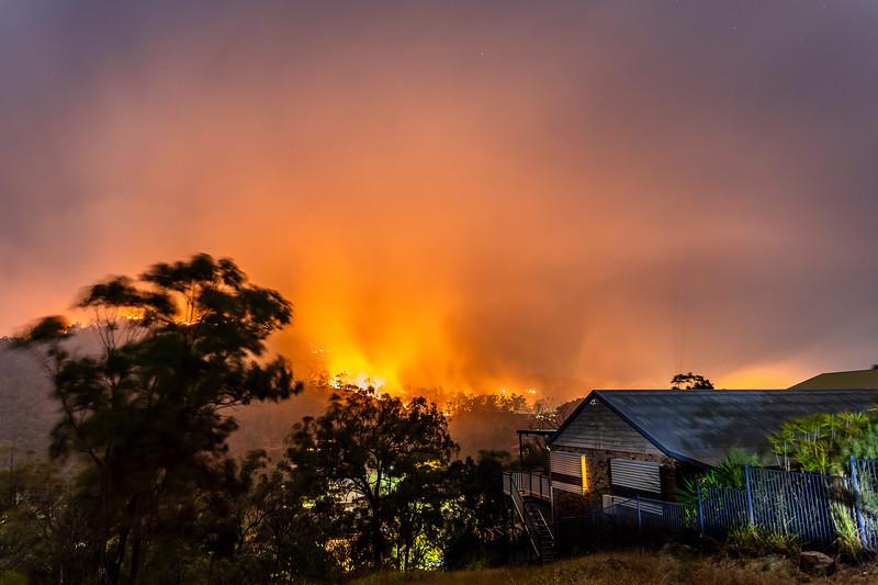 Fires burn towards residences in Frenchville.