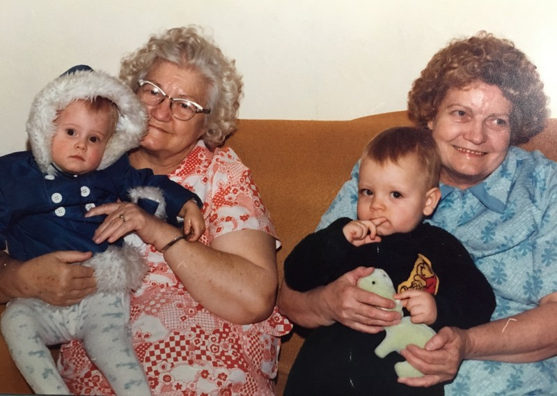 my grandma and her sister Sally with my neice Beverly and nephew Brad