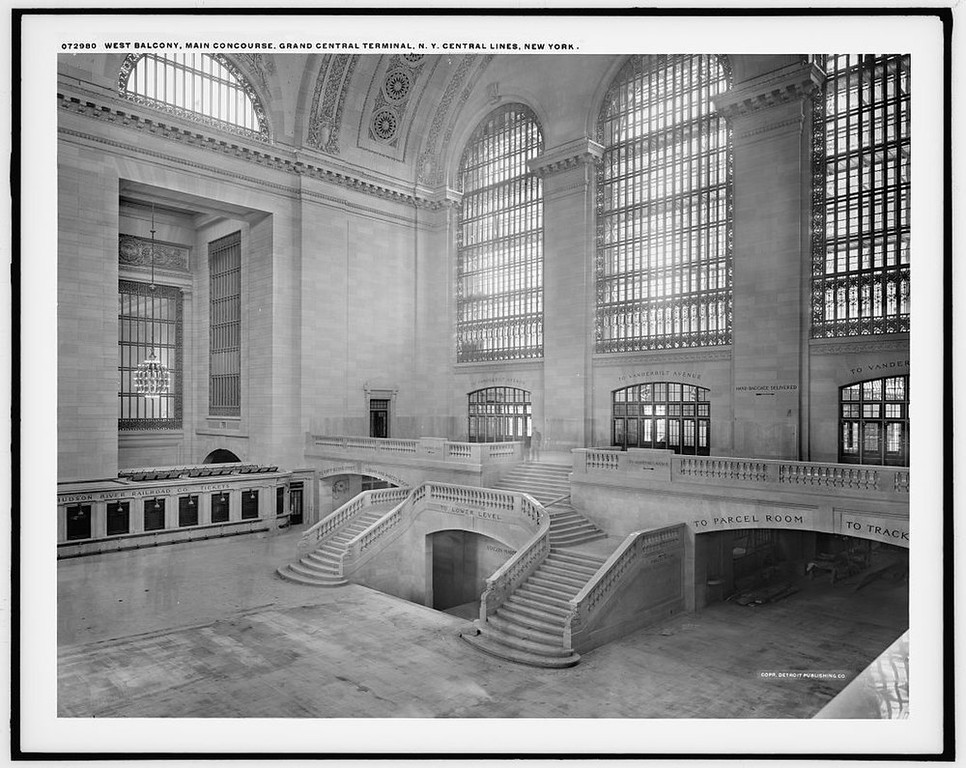 . A view of the west balcony in Grand Central Station in New York in this photo taken between 1913-1930. It made its debut in the heyday of cross-country train travel, faced demolition in the era of the auto, and got a new lease on life with a facelift in its eighth decade. Now Grand Central Terminal, the doyenne of American train stations, is celebrating its 100th birthday. Opened on Feb. 2, 1913, when trains were a luxurious means of traveling across America, the iconic New York landmark with its Beaux-Arts facade is an architectural gem, and still one of America\'s greatest transportation hubs. REUTERS/Courtesy of the Library of Congress/Handout