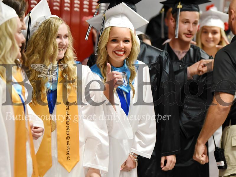 Harold Aughton/Butler Eagle: Madisyn Clark gives a thumbs up to Moniteau's High School Graduation.