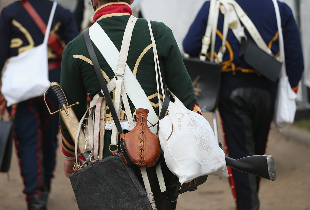 . Historical society enthusiasts in the role of French soldiers fighting under Napoleon arrive to re-enact The Battle of Nations on its 200th anniversary on October 20, 2013 near Leipzig, Germany. (Photo by Sean Gallup/Getty Images)