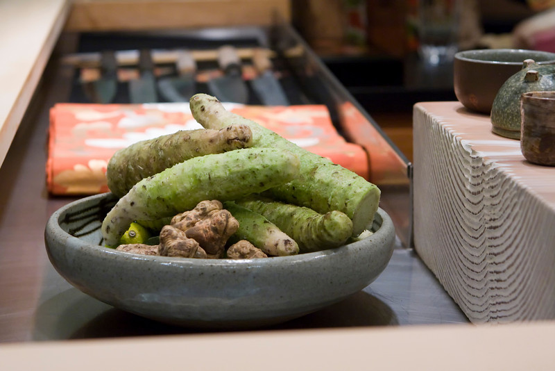 wasabi root and white truffles