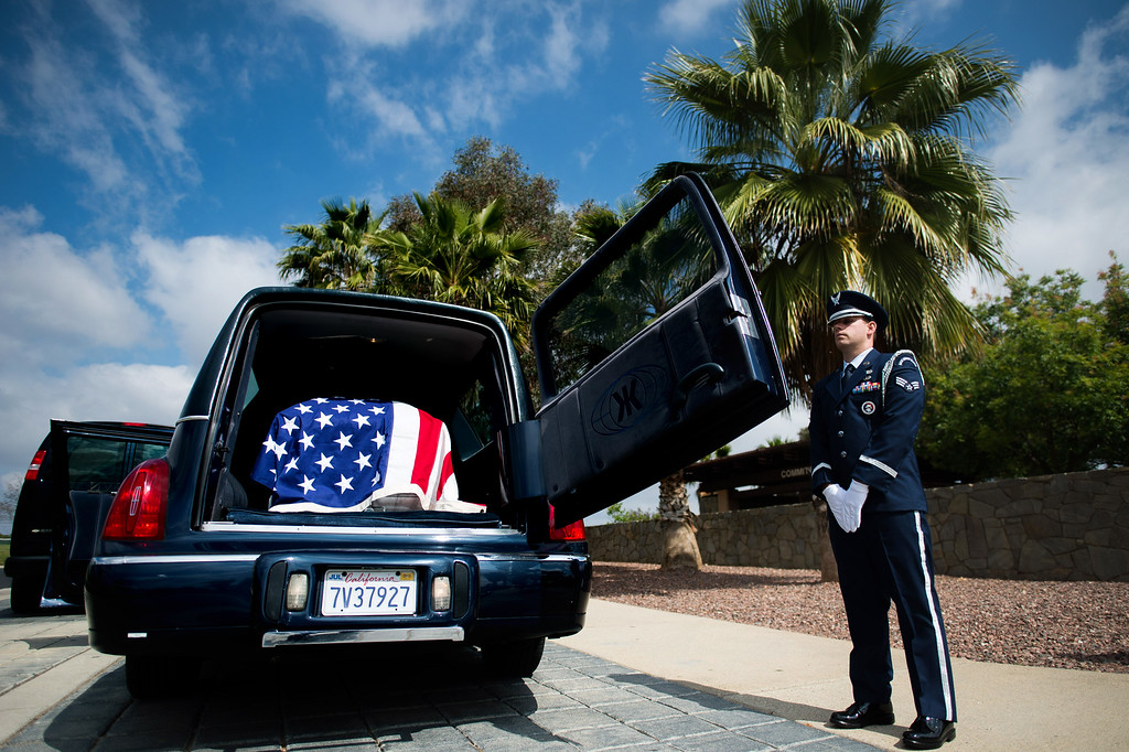 . Senior Airman Joseph Trujillo stands guard over the casket of Airman First Class Roland Morgan at Riverside National Cemetery in Riverside, Calif. on Tuesday, May 19, 2015. (Photo by Watchara Phomicinda/ Los Angeles Daily News)