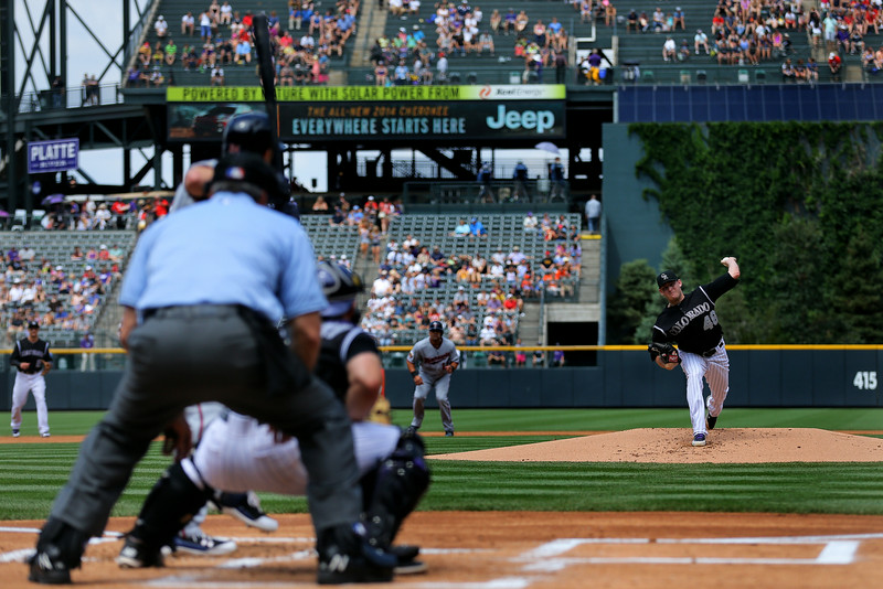 . Starting pitcher Tyler Matzek #46 of the Colorado Rockies delivers to home plate during the first inning against the Minnesota Twins at Coors Field on July 12, 2014 in Denver, Colorado. (Photo by Justin Edmonds/Getty Images)