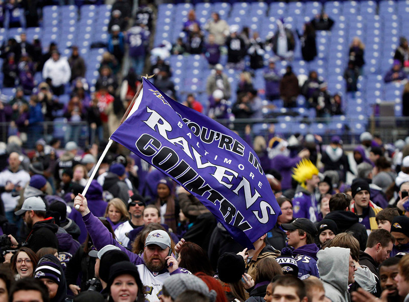 . A fan of NFL Super Bowl XLVII champion Baltimore Ravens waves a banner to celebrate their victory in Baltimore February 5, 2013. The Ravens defeated the San Francisco 49ers to win the NFL championship.     REUTERS/Gary Cameron