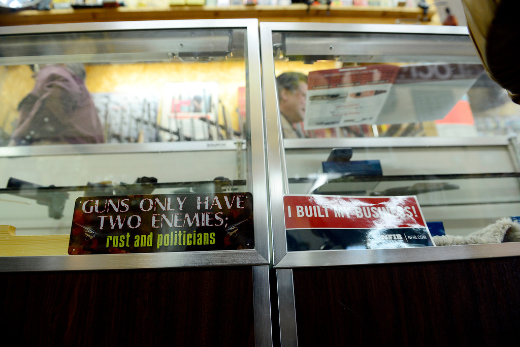 . MONTE VISTA, CO - FEBRUARY 26: The display case at Valley Gun in Monte Vista. Gun owners in southern Colorado largely agree that responsible ownership begins at home. (Photo by AAron Ontiveroz/The Denver Post)
