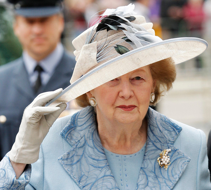 . Former British Prime Minister Margaret Thatcher arrives for a service of thanksgiving and re-dedication on  Battle of Britain Sunday at Westminster Abbey in London in this September 19, 2010 file photo. Thatcher has died, according to Sky TV. REUTERS/Luke MacGregor/Files