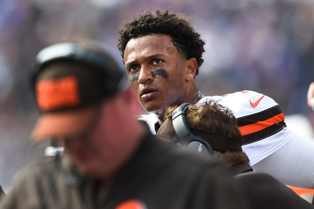 . Cleveland Browns quarterback DeShone Kizer (7) watches the action from the sidelines during the second half of an NFL football game against the Baltimore Ravens in Baltimore, Sunday, Sept. 17, 2017. The Ravens defeated the Browns 24-10. (AP Photo/Gail Burton)