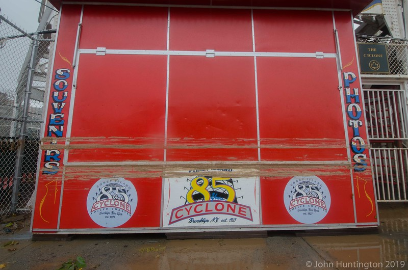 The high water mark on the cyclone ticket booth.