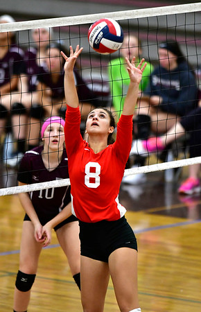 10/30/2018 Mike Orazzi | Staff Conard's Cate Di Giacomo (8) during the CCC volleyball tournament at Central on Tuesday.