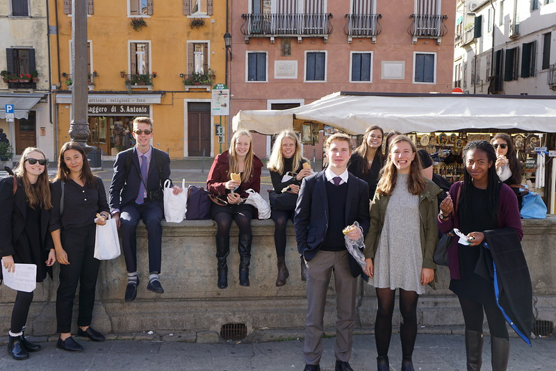 Eating lunch in front of Bascilica del Santo Antonio in Padua, Italy