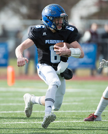 11/28/19 Wesley Bunnell | StaffrrPlainville football defeated Farmington on Thanksgiving morning at Plainville High School. Christian Collin (6).