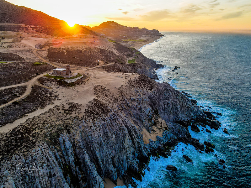 Old lighthouse Cabo drone