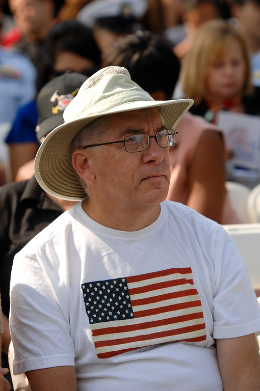 . Bob Nace, visiting from Florida, attends the 9/11 Remembrance Ceremony at the World Trade Center Memorial at LAFD Frank Hotchkin Memorial Training Center, Thursday, September 11, 2013. (Photo by Michael Owen Baker/L.A. Daily News)