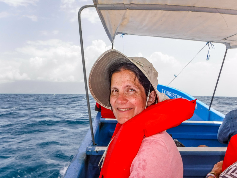 Carol on the way back from Cayo Cochino, Honduras
