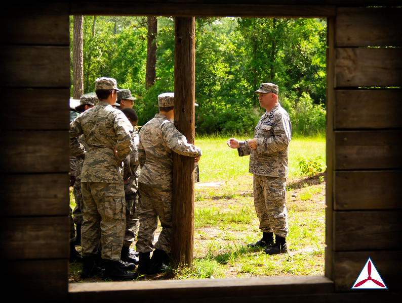 Cadets being briefed before running through the IMT course. Photo Credits: C/2dLt Jacob Hoernlein, NC300