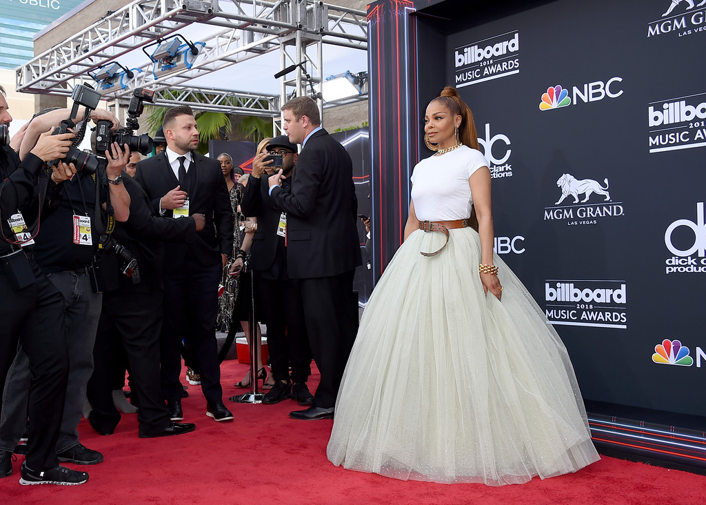 . Janet Jackson arrives at the Billboard Music Awards at the MGM Grand Garden Arena on Sunday, May 20, 2018, in Las Vegas. (Photo by Jordan Strauss/Invision/AP)