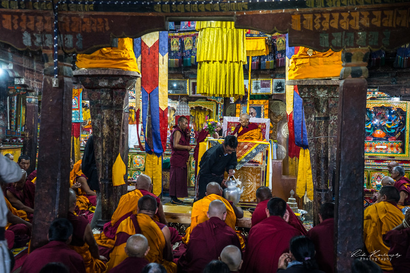Morning prayers in Thiksey Monastery