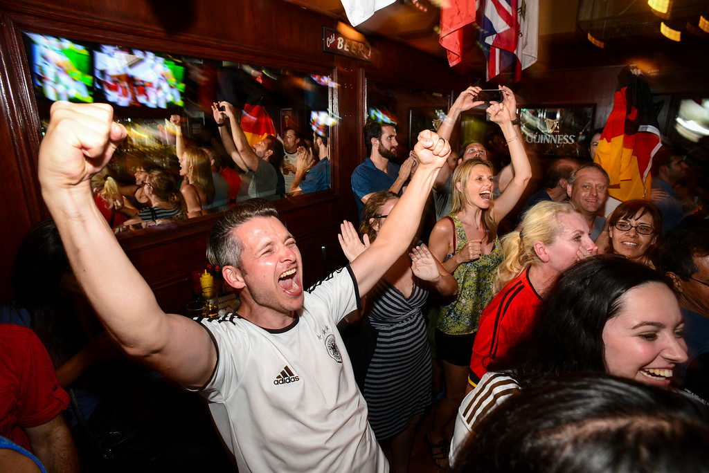 . German born Stefan Oriold , celebrates Germany\'s World Cup win with fellow fans at 33 Tap\'s Sport Bar in Hollywood, CA Sunday, July 13. 2014.( Photo by David Crane/Los Angeles Daily News )